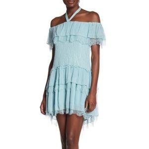 alice + olivia Blue Off-the-Shoulder Lace Dress 8